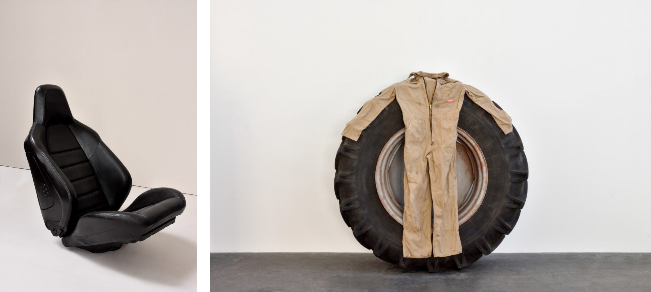 Car seat made out of bronze and a tractor tyre with a boiler suit on top in reference to Francis Bacon.
