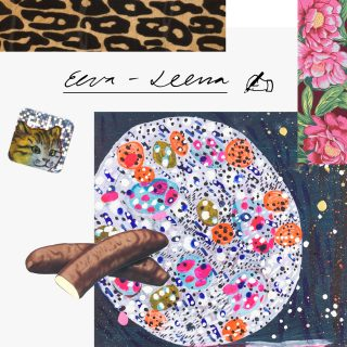 Kollaasi Eeva-Leena Eklundin töistä. kukkamaalauksia, värikäs pizza, kiiltokuvia ja eläimiä.